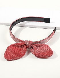 Fashion Big Red Woven Cloth Bow With Toothed Hair Hoop