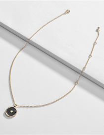 Fashion Black Alloy Dripping Star Round Necklace