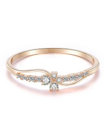 Fashion Rose Gold Alloy Diamond Flower Bangle Bracelet