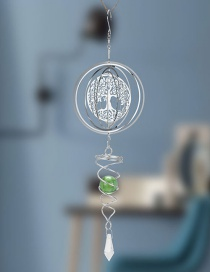 Fashion Silver Round Hollow Tree Crystal Ball Wind Chimes
