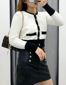 Fashion White Patchwork Mink Knitted Cardigan