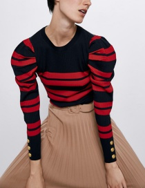 Fashion Red Striped Pleated Sweater