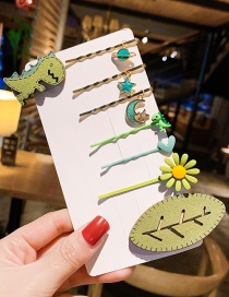 Fashion 1 # Star Moon 8 Piece Set Word Flower Leaf Dinosaur Hair Clip Set