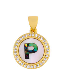 Fashion Golden P Alphabet Round Shell Diamond Necklace