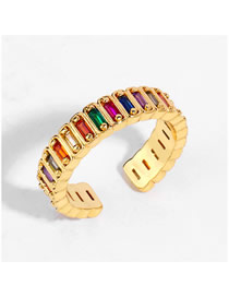 Fashion Golden Geometric Open Ring With Diamonds