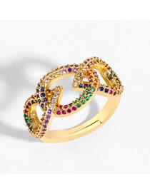 Fashion Golden Diamond Cutout Geometric Ring