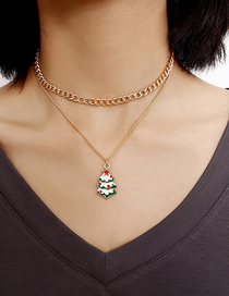 Fashion Golden Chain Dripping Christmas Tree Multilayer Necklace
