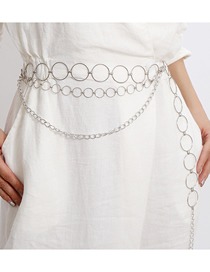 Fashion White K Geometric U-shaped Metal Circle Multilayer Waist Chain