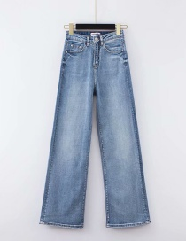 Fashion Blue Washed High-rise Stretch-slight Wide-leg Jeans
