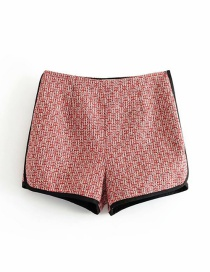 Fashion Red Tweed Colorblock Hem Straight Shorts