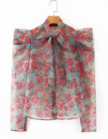Fashion Red Floral Print Lace Up Organza Shirt