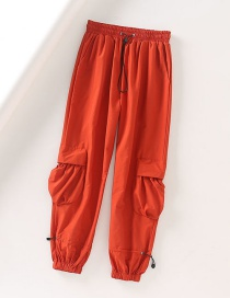 Fashion Red Elastic High-waisted Drawstring Overalls