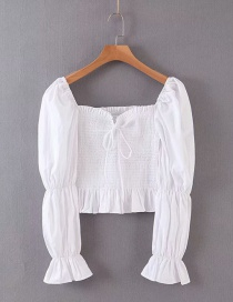 Fashion White Puff Sleeve Generous Collar Lace-up Shirt