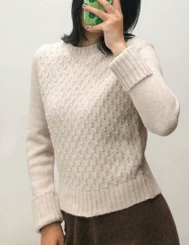 Fashion Beige Beaded Crew Neck Sweater