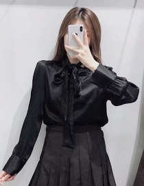 Fashion Black Bow Collar Shirt