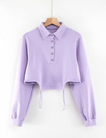Fashion Purple Double Drawstring Lapel Sweatshirt