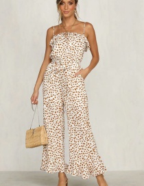 Fashion White Flower Print Sling Ruffled Jumpsuit