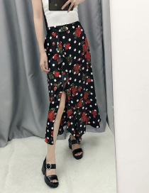 Fashion Black Layered Ruffled Floral Print Skirt