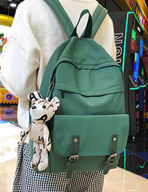 Fashion Dark Green With Pendant Panel Buckle Backpack