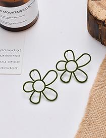 Fashion Green Flocking Irregular Flower Hollow Earrings