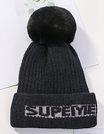Fashion Black Knitted Wool Alphabet Wool Ball Hat