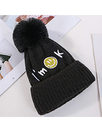 Fashion Black Embroidered Smiley Letters Plus Velvet Knitted Hat