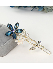 Fashion Navy Flower Word Clip With Diamond Branches