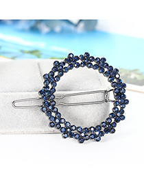 Fashion Navy Geometric Cutout Flower Hairpin