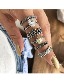 Fashion Silver Pearl And Diamond Embossed Geometric Ring Set