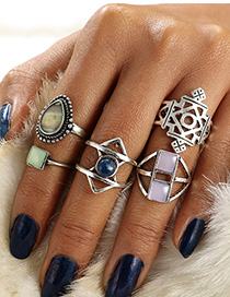 Fashion Silver Drop Shape Turquoise Hollow Geometric Ring Set