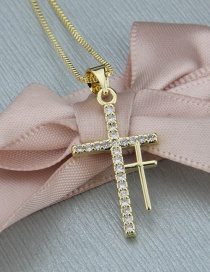Fashion Gold-plated Double Cross Diamond Necklace
