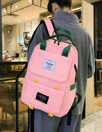 Fashion Pink Nylon Stitching Contrast Backpack