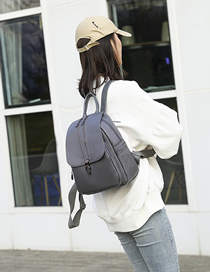 Fashion Gray Zip-lock Flap Backpack