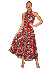 Fashion Red Halter High Waist Mid Pleated Floral Print Dress
