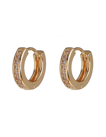 Fashion Golden Earrings With Round Diamonds