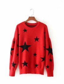 Fashion Red Contrast Five-pointed Star Jacquard Loose Sweater