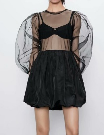 Fashion Black Panelled Tulle Dress
