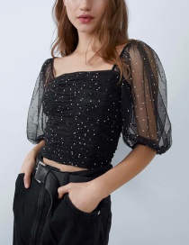 Fashion Black Sequined Square Neck Tulle Crop Top