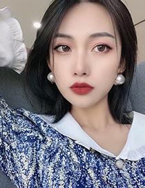 Fashion Beige Button Pearl Earrings