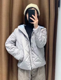 Fashion Gray Rhombus Tether Hooded Cotton Coat