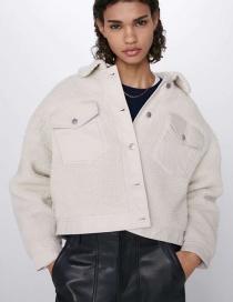 Fashion Creamy-white Lambskin-paneled Contrast Coat