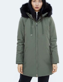 Fashion Army Green Long Sleeves With Hooded Fur Collar And Elasticated Cuffs
