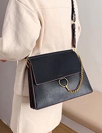 Fashion Black Circle Stitching Chain Flap Flap Shoulder Crossbody Bag