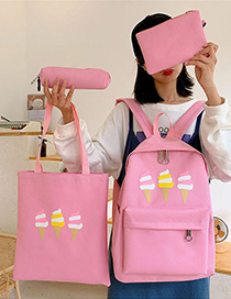 Fashion Pink Ice Cream Print Backpack Four-piece