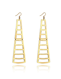 Fashion Golden Ladder Geometric Cutout Earrings