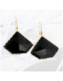 Fashion Black Geometric Polygon Crystal Multi-faceted Irregular Glass Earrings