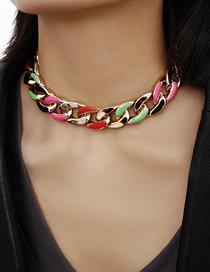 Fashion Color Geometric Chain Metal Painting Oil Necklace