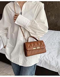 Fashion Brown Chain Rhombus Shoulder Bag