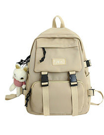 Fashion Khaki Ribbon Pendant Nylon Backpack With Patch Letters