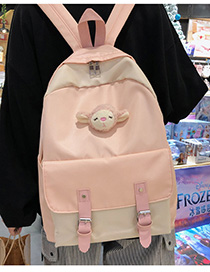 Fashion Pink With Pendant Stitched Contrast Belt Buckle Backpack